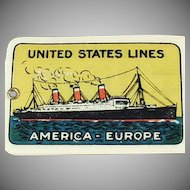 Vintage 1920's Celluloid Luggage Tag - United States Ship Lines