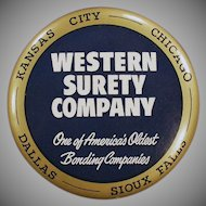 Vintage Celluloid Advertising Paperweight Mirror - Western Surety Advertising