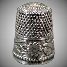 Vintage Sterling Thimble – Pretty Floral Design - Size 6