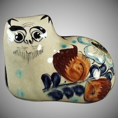 Colorful Mexican Pottery Figure - Cat with Floral Design - Tonala