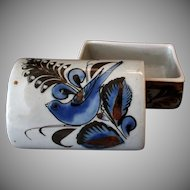 Covered Mexican Pottery Dresser Jar with Blue Bird – Snail Signature
