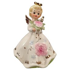 Vintage Norcrest Angel with Pink Flower Bouquet