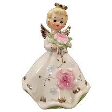 Vintage Norcrest Angel with Pink Flower Bouquet