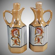 Vintage Lusterware Oil and Vinegar Cruet Set - Floral Lustreware