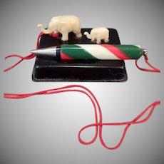 Vintage Miniature Celluloid Elephants – Unique Old Pencil Holder – Japan