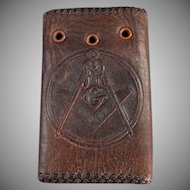 Vintage Leather Car Key Case with the Masonic Emblem