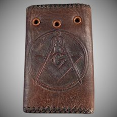 Vintage Leather Car Key Case with the Masonic Emblem