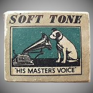Vintage His Master's Voice Phonograph Needle Box - Gramophone Company Nipper Logo
