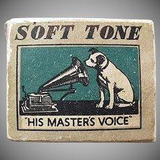 Vintage His Master's Voice Phonograph Needle Box - Gramophone Company Nipper Logo