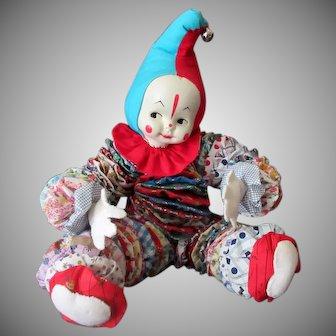 Vintage Cloth Yo-Yo Clown Doll – Quilt Circles Bed Doll