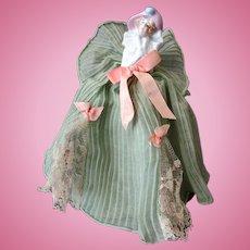 Vintage Half Doll Boudoir Night Light Lamp with Fancy Original Dress