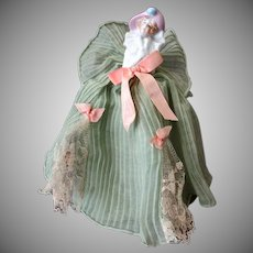 Vintage Half Doll Boudoir Night Light Lamp with Fancy Original Dress