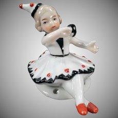 Vintage Porcelain Half Doll – Little Girl Pierrette Seated - Full Figure
