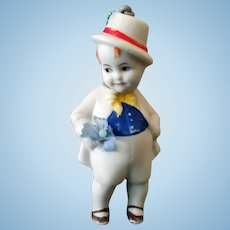 Vintage Bisque Boy Nodder – Small Size Hand Painted German Doll