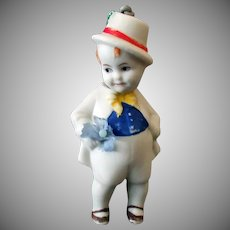 Vintage Bisque Boy Nodder – Small Size Hand Painted German Doll