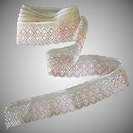 """Vintage Lace Edging – 60"""" Length of Pale Ecru and Pink Lace Trim"""