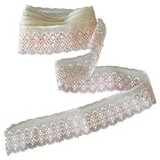 "Vintage Lace Edging – 60"" Length of Pale Ecru and Pink Lace Trim"