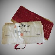 """Vintage Tatted Edging – 48"""" Length of Old Tatting - Red Thread Lace"""