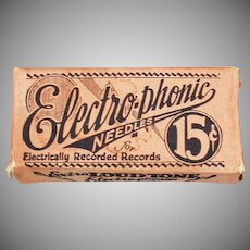 Vintage Electro-Phonic Loud Tone Box with Steel Phonograph Needles