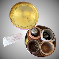 Vintage Sewing Kit – Hinged Brass Tin with Thread and Thimble