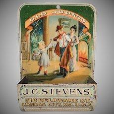 Vintage Old Judson Advertising Matchsafe - J.C. Stevens Wall Match Safe