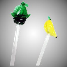 Vintage Glass Swizzle Sticks – Banana & Ship Drink Stirrers