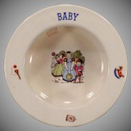 Vintage Baby Plate – Small Bowl with Children and Toys - Czechoslovakia