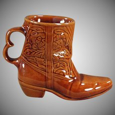 Vintage Frankoma Pottery Boot Mug - Glossy Brown Glaze Coffee Cup