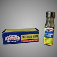 Vintage DeWitt's Toothache Drops Bottle & Original Box
