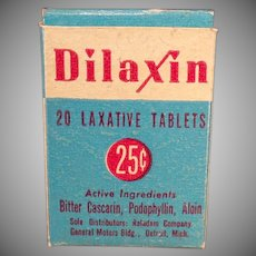 Vintage Dilaxin Laxative Box - Old Medicine Advertising