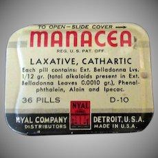 Vintage Laxative Tin – Nyal Manacea Medicine Tin