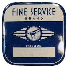 Vintage Fine Service Brand Typewriter Ribbon Tin with an Airplane