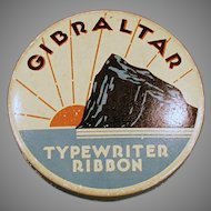 Vintage Typewriter Ribbon Tin - Old Ribbon Tin with Rock of Gibraltar
