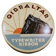 Vintage Typewriter Ribbon Tin - Old Ribbon Tin with Rock of Gibraltar