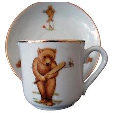 Vintage Dolls Tea Party Souvenir Tea Cup & Saucer with Teddy Bear 1920's