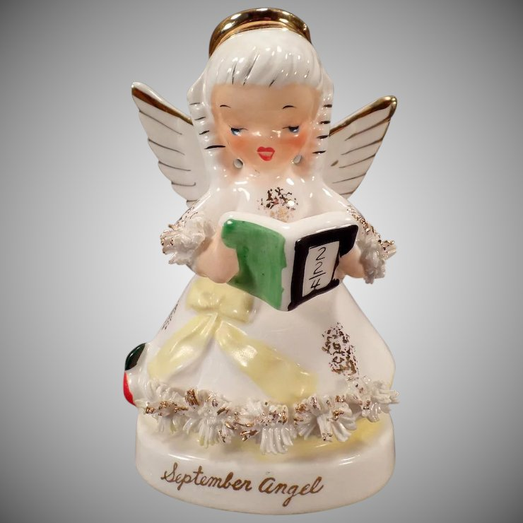 Vintage September Birthday Angel With Arithmetic Book Napco