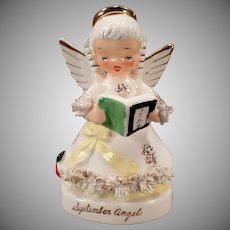 Vintage September Birthday Angel with Arithmetic Book – Napco Porcelain Figure