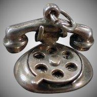 Vintage Sterling Silver Charm – I Love U Rotary Telephone