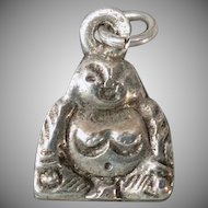 Vintage Smiling Buddha Silver Charm – Happy, Double Sided Charm
