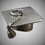 Vintage Silver Charm – Graduation Memento Mortarboard – Tasseled Mortar Board