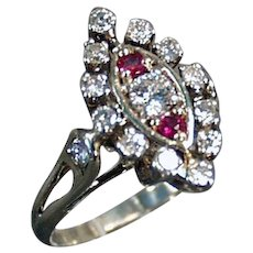 Ladies Vintage Diamond and Ruby 14K White Gold Cocktail Ring