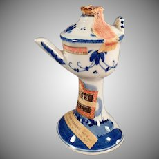 Vintage Blue Delft Miniature - Liqueur Bottle - Pedestal Basin