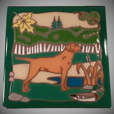 Vintage Masterworks Art Tile - Hunting Dog with Vivid Colors