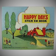 Child's Vintage Stickers Book - Platt & Munk Happy Days 1940's