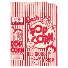 Vintage Never Used Popcorn Box - Red & White Striped