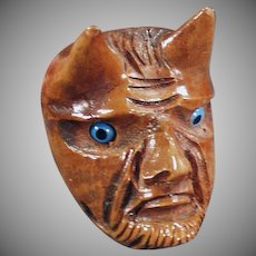 Vintage Smoking Pipe - Carved Briar Wood - Devil Face with Glass Eyes