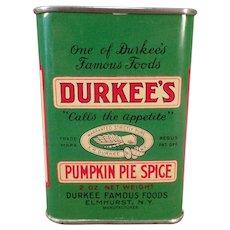 Vintage Durkee's Pumpkin Pie Spice Tin