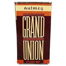 Vintage Grand Union Nutmeg Spice Tin