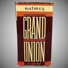 Vintage Grand Union Nutmeg Spice Tin