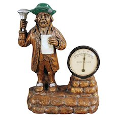 Vintage Syroco Desk Thermometer - Town Crier Figure - Working Thermometer